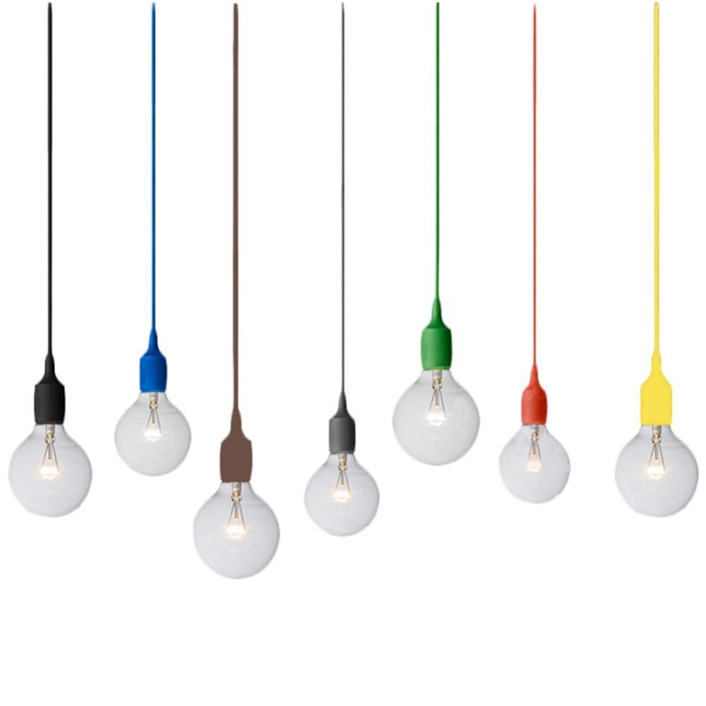 cable pendant lighting. Modern Colorful Silicone Pendant Lights For Bar Restaurant E27 Lamp Holder 1meter Cable Vintage Edison Bulbs Hanging Shades Copper Lighting