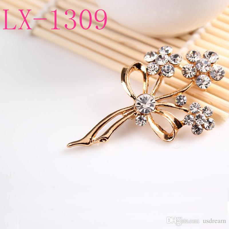 5 models crystal flower brooches pins luxury plant wheat rose corsage for men women banquet party Christmas costume jewelry gift 170294