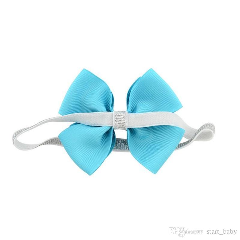 Новый 20 цвет детские повязки Луки дети Лента блеск эластичные повязки для девочек детские аксессуары для волос двойной бантом Hairband B11
