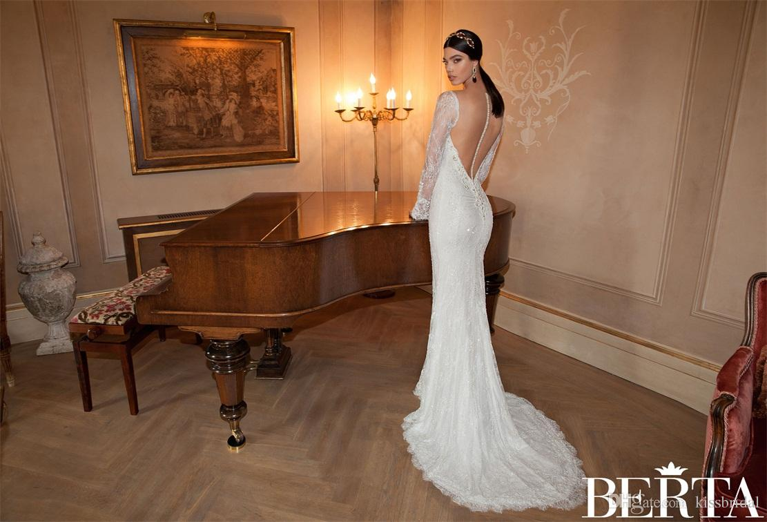 Berta Mermaid Wedding Dresses With Free Detachable Lace Appliqued Cape Sexy V-Neck Long Sleeve Beaded Bridal Gowns