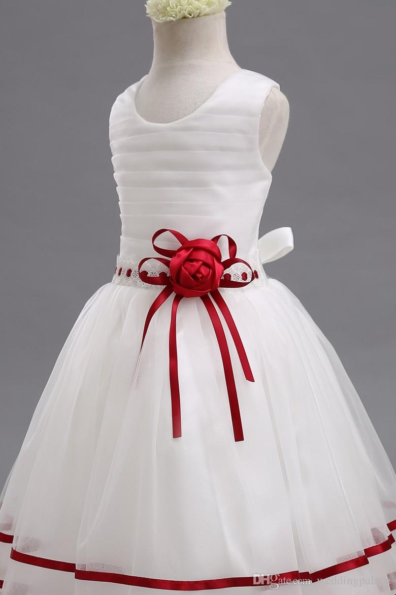 Real Picture Scoop Flower Girl Dresses Net Pleats Belt Handmade Flower Custom Made Lovely Little Girl Dresses