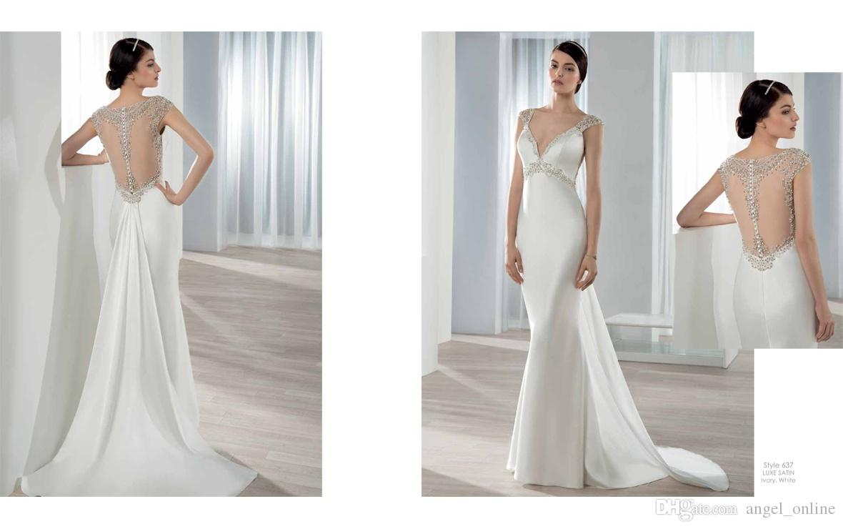 Mermaid Wedding Gowns With Sleeves: Demetrios 2016 Mermaid Wedding Dresses Deep V Neckline