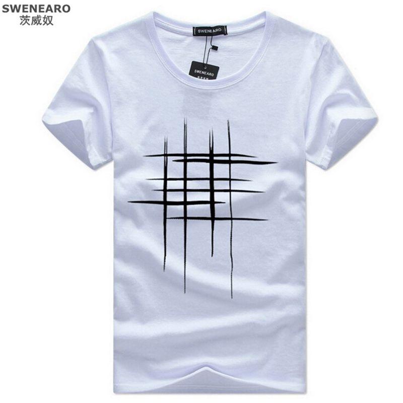 5b58b696e Wholesale- Simple creative design line cross Print T Shirts Men's New  Arrival Summer Style Short Sleeve Men t-shirt 2017 O-Neck Hip Hop Top