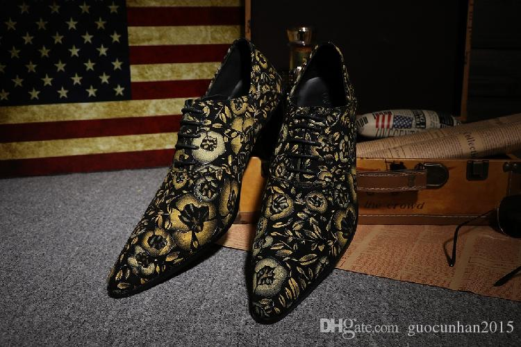 Genuine Leather Man Shoes British Style Fashion Ball Shoes Lace-Up Exclusive Dance Shoes Men Oxfords Party Wedding Bule Yellow Bright Red