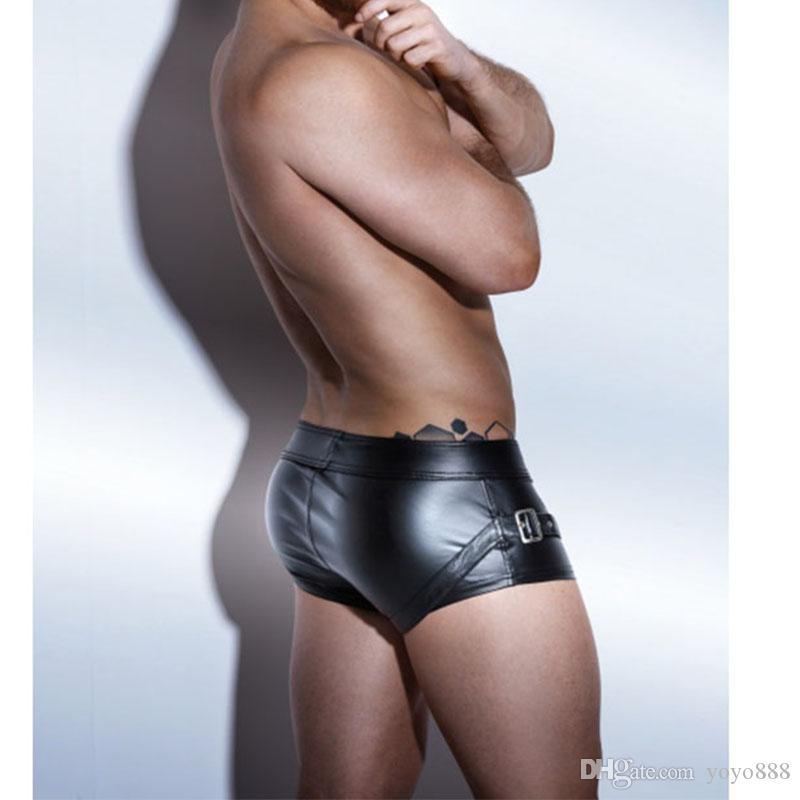 New Erotic Men's Leather Shorts Lingerie Sexy Boxers Black Faux Leather PU Shorts For Male Underwear Underpants X6723