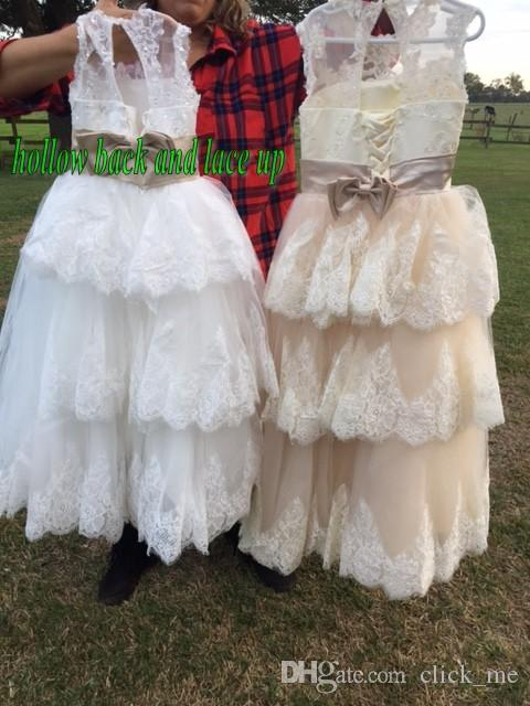 2015 Spring Flower Girl Dresses Vintage Jewel Sash Lace Net Baby Girl Birthday Party Christmas Communion Dresses Children Girl Party Dresses
