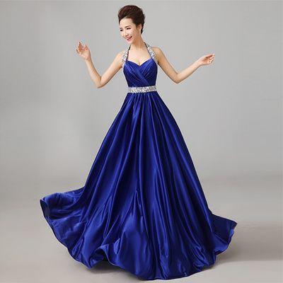 Elegante Halter Neck Beading Tafetá Vestido De Noite 2018 Até O Chão Vestido Formal Para Festa Azul Marinho Rosa