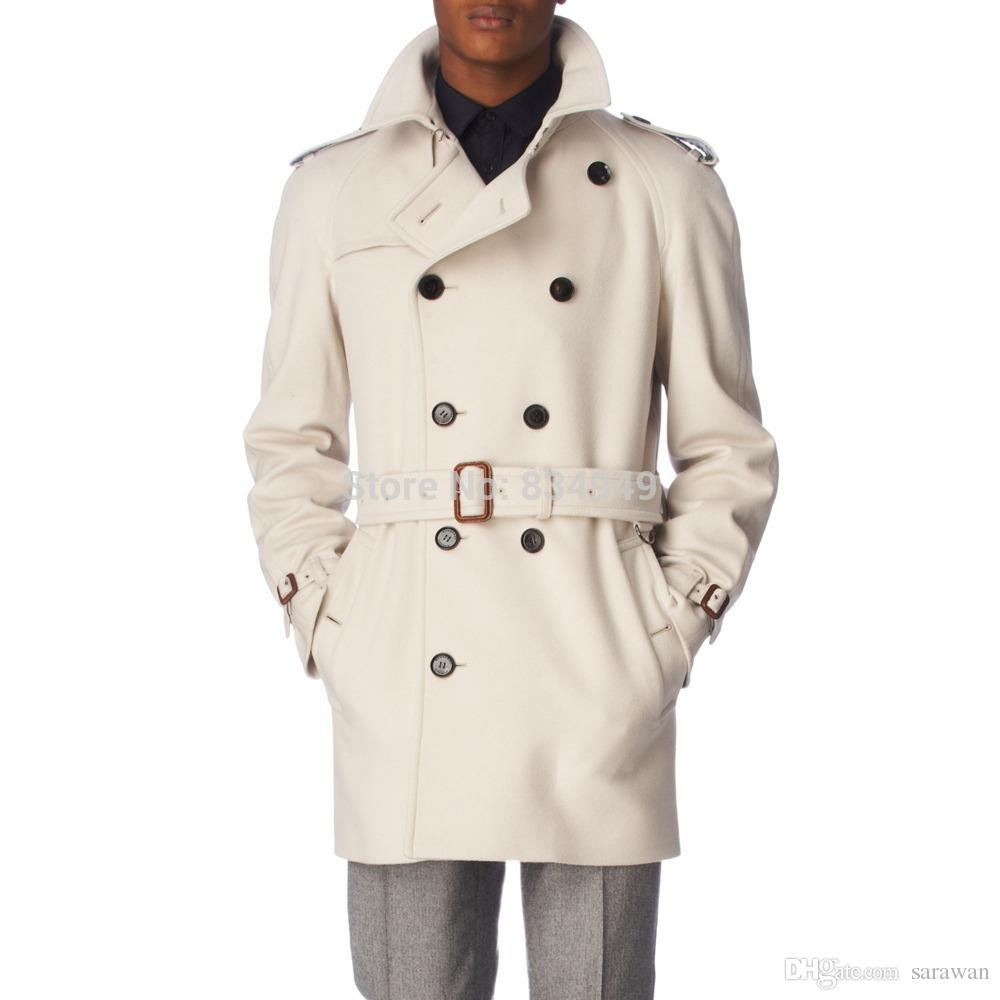 2018 Custom Made Ivory White Cashmere Wool Coat Winter Coats For ...