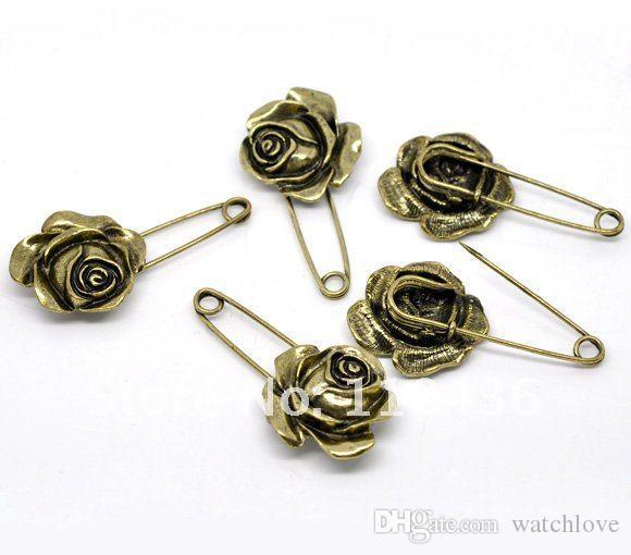 Gros-Nouvelle Mode Accessoires Métal Rose Motif Bronze Fleur Vintage 5 cm Épinglette Corsage De Mariage Garçon D'honneur Quinceanera Prom
