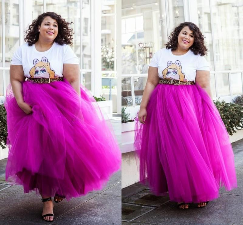 40a7703749 2019 2015 Maxi Tulle Skirts For Girls Elastic Waist Floor Length Fuchsia  Purple Women Skirts Party Dresses Plus Size Ball Gown Tutu Skirts From ...