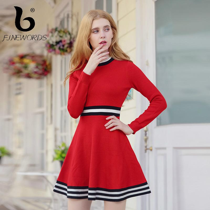 2017 Striped Knitted Red Christmas Winter Dress O Neck Elegant Plus