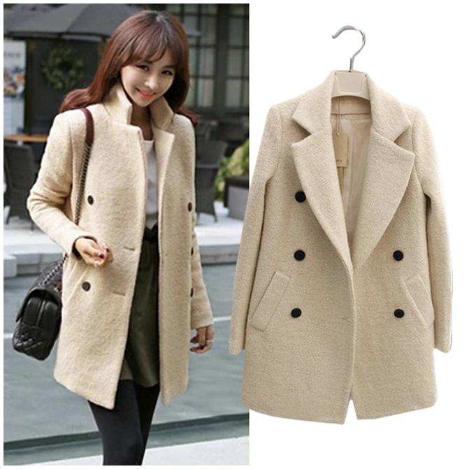 2017 Women Winter Coat Brand Korean Version Double Breasted Wool ...