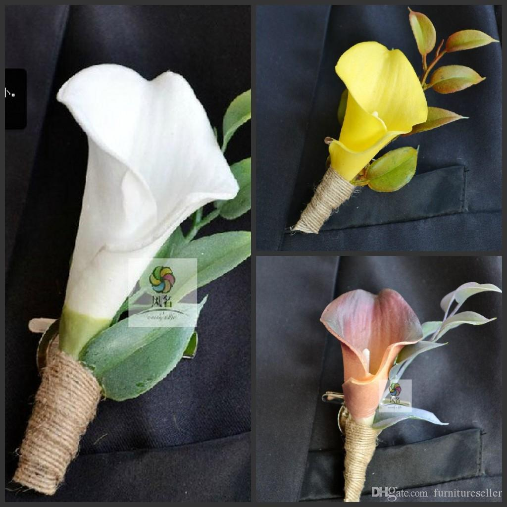 2015 New Wedding Boutonniere Artificial Natural Real Touch Calla ...