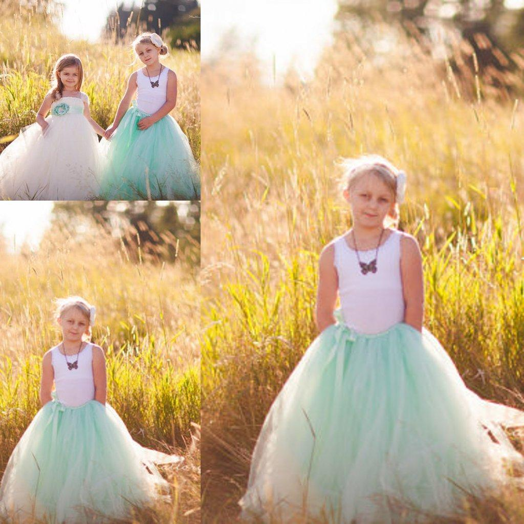 Mint green junior bridesmaid dresses ball gowns flower girl tulle see larger image ombrellifo Choice Image
