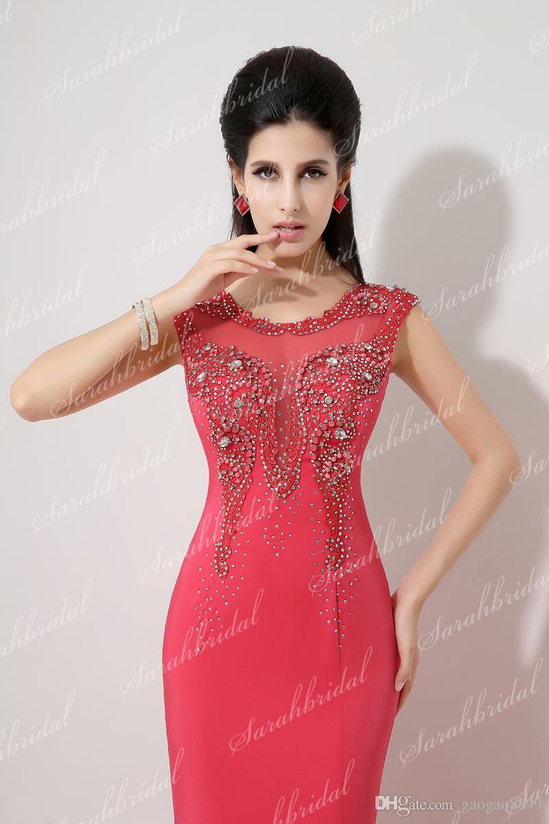 I lager vattenmelon formell kväll prom klänningar tillfälle kristall sjöjungfru riktigt bild pärlor ren nacke mor till brud kändis klänningar 2019