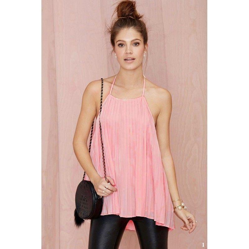 bb5c9ffa7402d Wholesale-Street Fashion High Low Shirt Women Singlet Sexy Chiffon ...