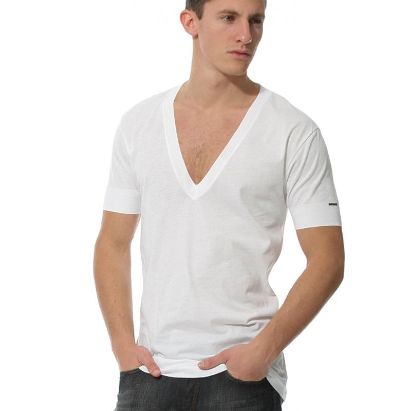Mens Wide Neck T Shirt