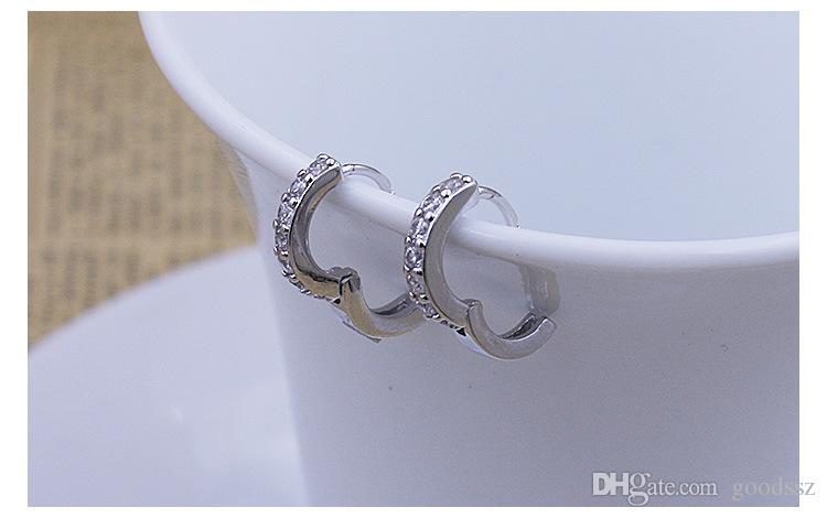 925 스털링 실버 라운드 서클 후프 귀걸이 패션 쥬얼리 복고풍 단일 행 지르콘 다이아몬드 크리스탈 슈퍼 깜박임 여자 여자들을위한 귀걸이