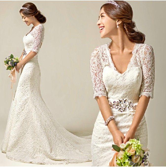 YS16 Sexy Fashionable Plus Size Custom Mermaid Lace Half Sleeve Wedding Dress 2017 Bridal Of Bride Gowns Dresses Vestidos