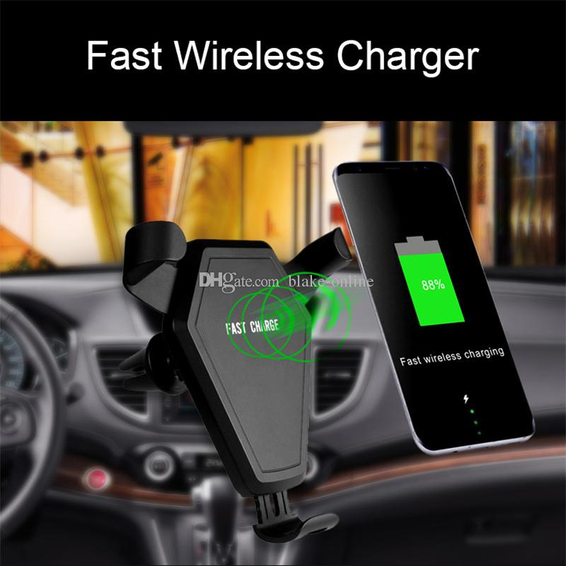 Car Mobile Holder Wireless Charger Vehicle Air Vent Phone Holder for iPhone X/8/8 Plus, Samsung Galaxy Note 8/5,S8+,S7