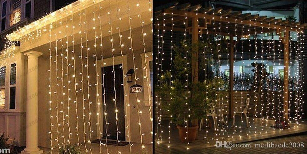 Outdoor 3M * 3M 300 Led Curtain Light Strings Waterproof Xmas Wedding Party Festival Background Decoration Flash Fairy String MYY1661