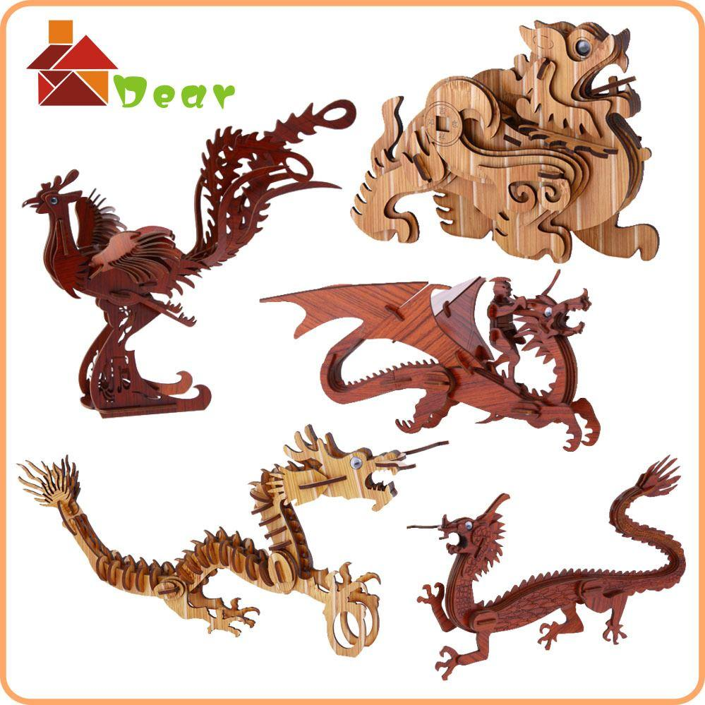Dinosaurs Mdf Toy Box Childrens Storage Toys Games Books: 2019 Wooden Toys Diy Dragon 3d Model Animal Puzzle Baby