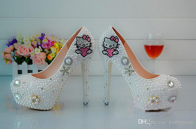 luxury Beaded Pearls Lady's Formal Shoes Women's High Heels Bridal Evening Prom Party Wedding Dress Bridesmaid Shoes