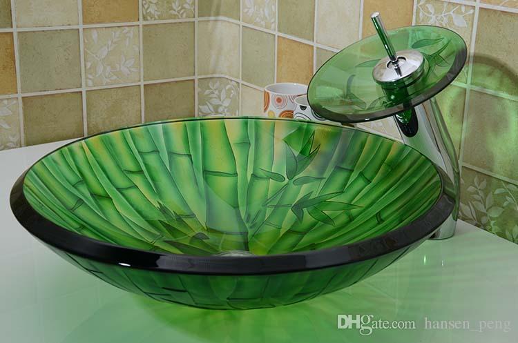 Bathroom tempered glass sink handcraft counter top round basin wash basins cloakroom shampoo vessel bowl HX010