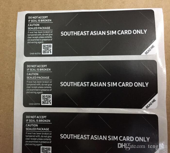 20 шт. / Лот SIM-карты только печать наклейка наклейка для SAMSUNG Galaxy телефон пакет коробка уплотнительная полоса