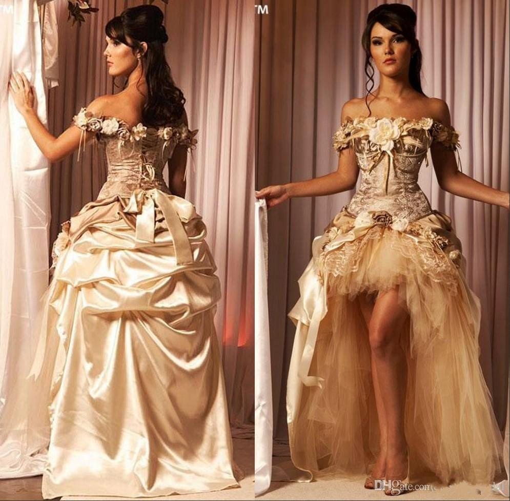 Vintage Victorian Wedding Dresses: Discount Vintage Victorian Champagne Wedding Dresses Lace