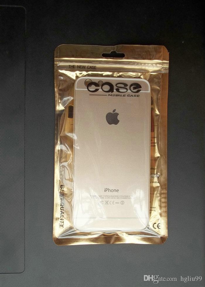 10 * 18 cm, 12 * 20 cm de oro / transparente Self Seal Zip Lock Ziplock Bag paquete al por menor, Zipper Plastic Retail Pack Bag para iphone 6 4.7 / 5.5