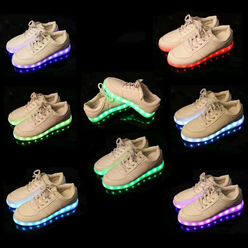 cheap for discount b435e f1a73 PrettyBaby 8 Farbe LED leuchtende Schuhe Männer und Frauen Mode  Freizeitschuhe USB Lade Licht Schuhe bunte glühende Paare Freizeit flacher  Schuh