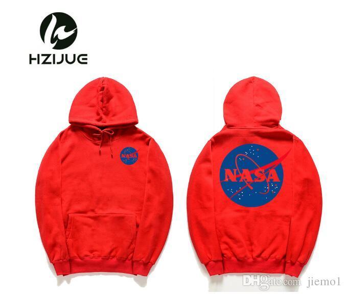 NASA Hoodie Streetwear Hip Hop Mode Khaki Schwarz Grau Rosa Weiß Hohe Qualität Hoodies Damen Herren Hoodies Sweatshirts XXL Plus Größe