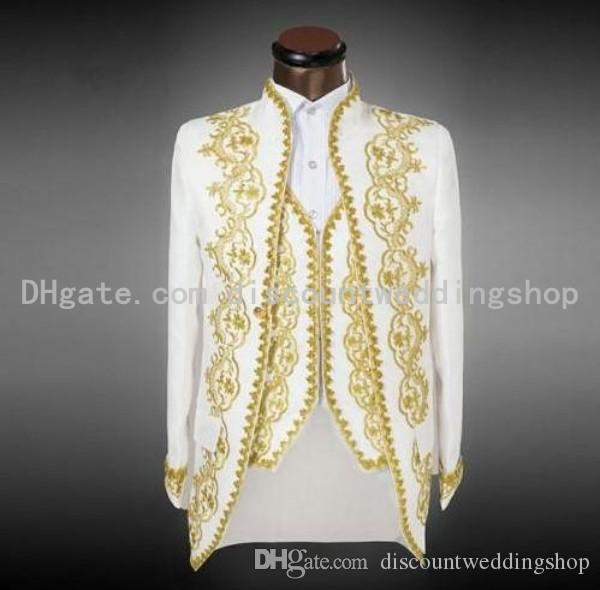 White With Gold Embroidery Groom Tuxedos Stand Collar Groomsmen