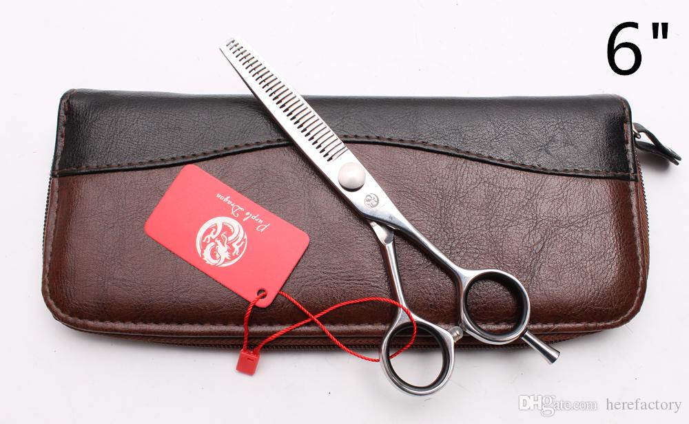 """Z1021 6"""" Japan 440C Laser Purple Dragon Professional Human Hair Scissors Barbers' Hairdressing Scissors Cutting Thinning Shears Style Tools"""