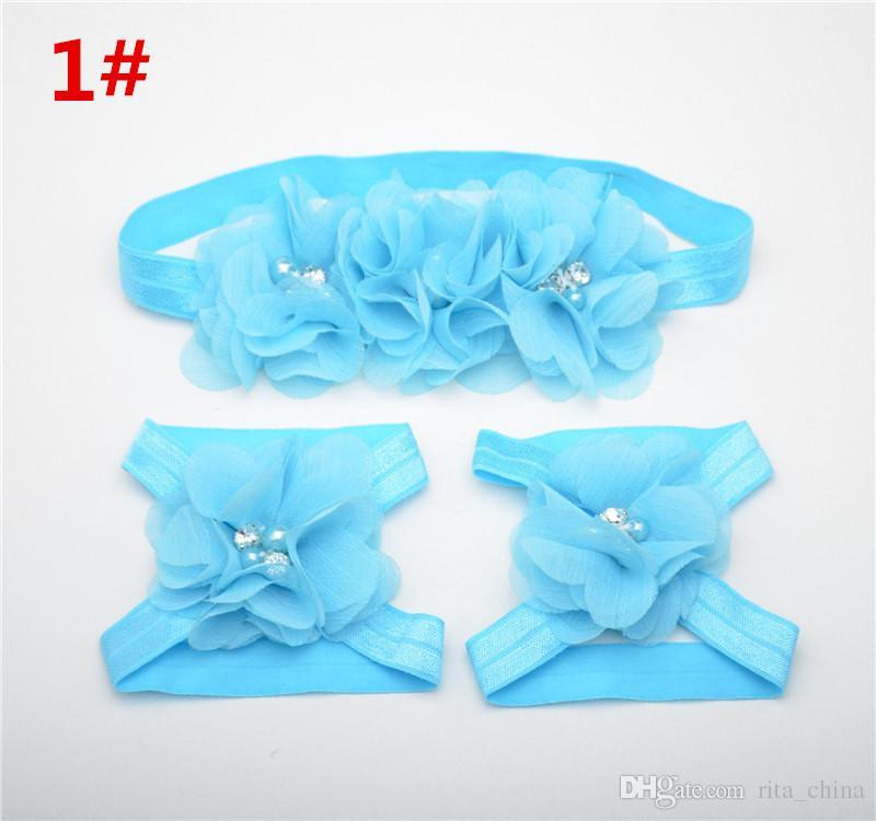 Infant Chiffon Flower Headbands + Feet Acccessories Girl Headwear Kids Baby Photography Props NewBorn Hair Accessories Sets A1B4C2