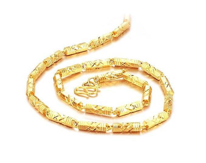 Snel gratis verzending Fijn 24K goud gevulde ketting fabriek directe, lengte: 51cm, gewicht: 46g