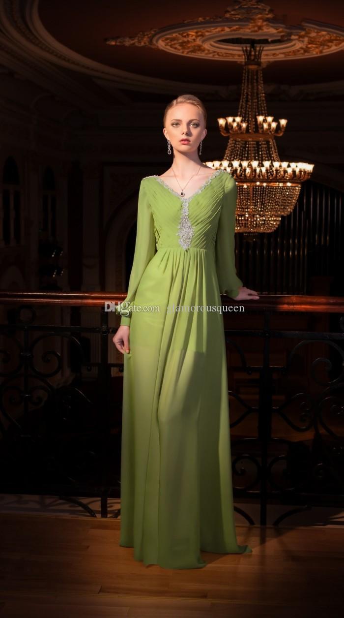 우아한 패션 라인 V 목 녹색 연한 녹색 쉬폰 긴 소매 이브닝 드레스 아테네 Backless 여성 파티 복장 가운 스위프 기차
