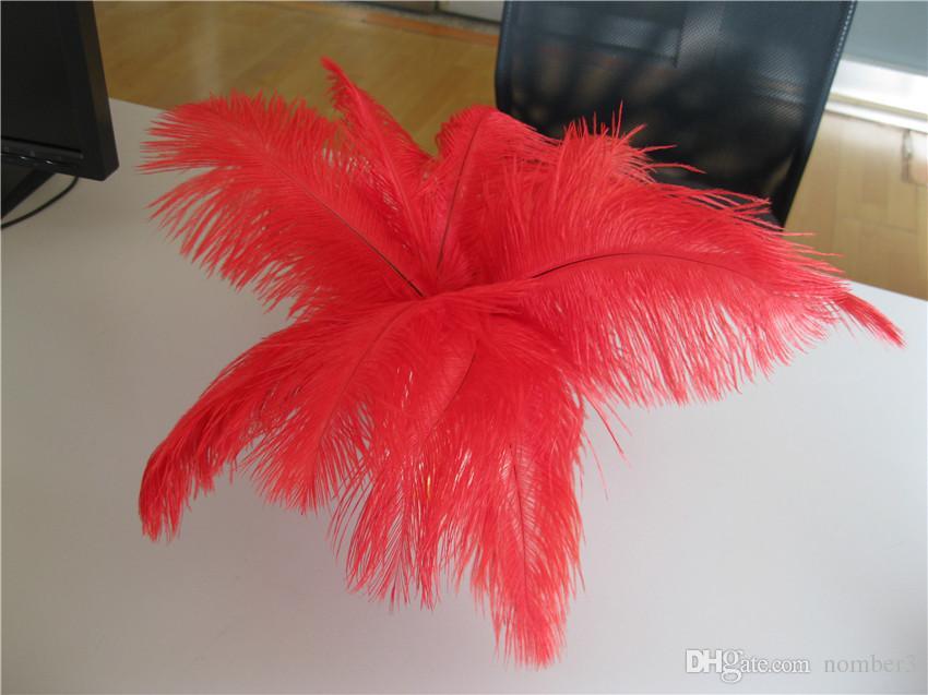 Оптовая продажа 100 шт. 8-9 дюймов красный страусиное перо шлейф для свадьбы центральным свадьба decoraction партии событие питания