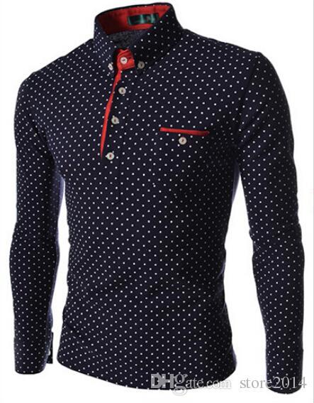 Camice all'ingrosso e al dettaglio di vestito degli uomini di modo alla moda casuale Dress Polka Dot shirt Muscle Fit Camicie