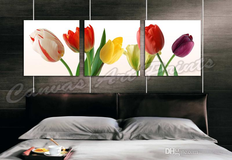 Cheap Home Decor Canvas Paintings Art 3 Panel Wall Art Painting Flowers Framed Art Prints Tulips Flower Painting Wall Pictures for the Home