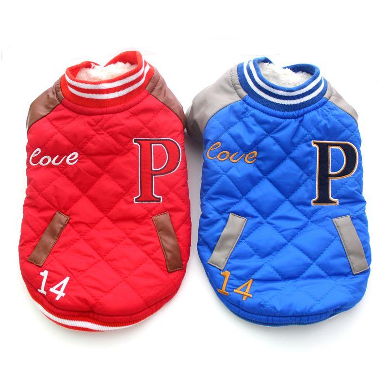 送料無料!レッド/ブルーチェックウィンタードッグジャケットコートポケットデザイン、ペット子犬パーカー服、4サイズ