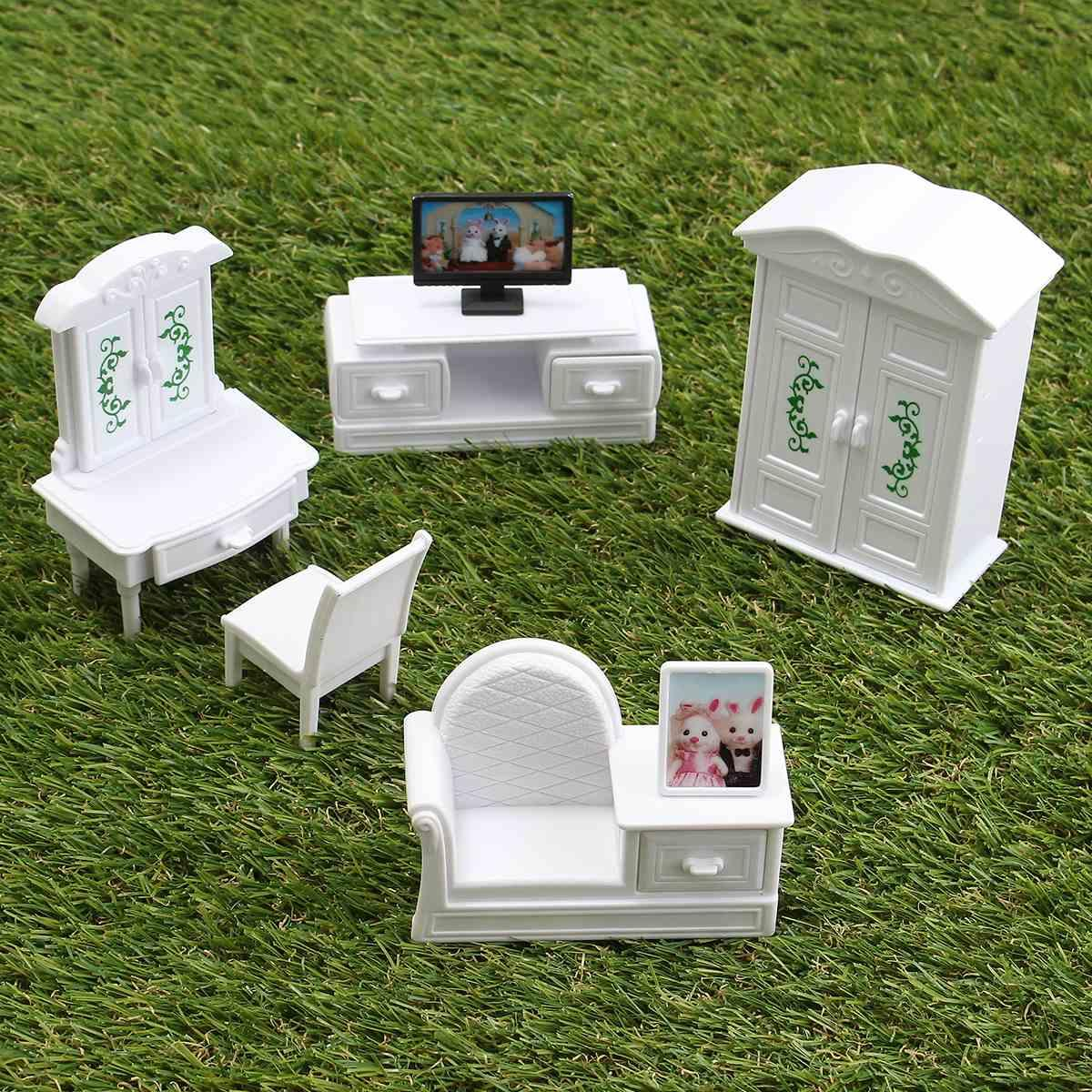Wholesale New Diy White Living Room Set Plastic Doll House  # Muebles Full House Colombia