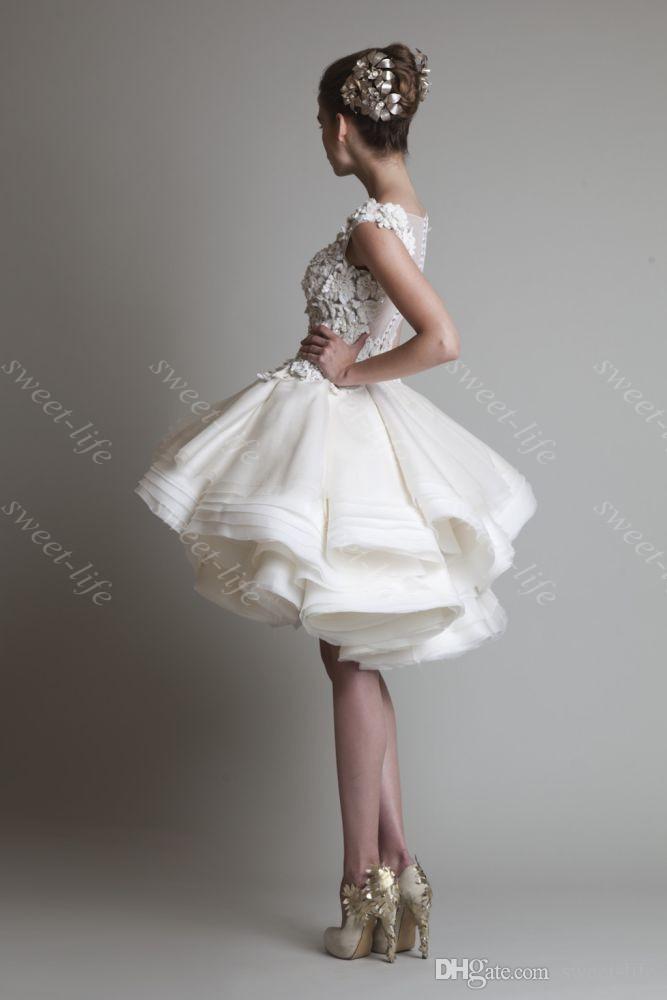 2015 Vintage Short Ballkleid Brautkleider Krikor Jabotian Cap Bateau Spitze Tiered Knielangen Short Party Cocktailkleid Brautkleider
