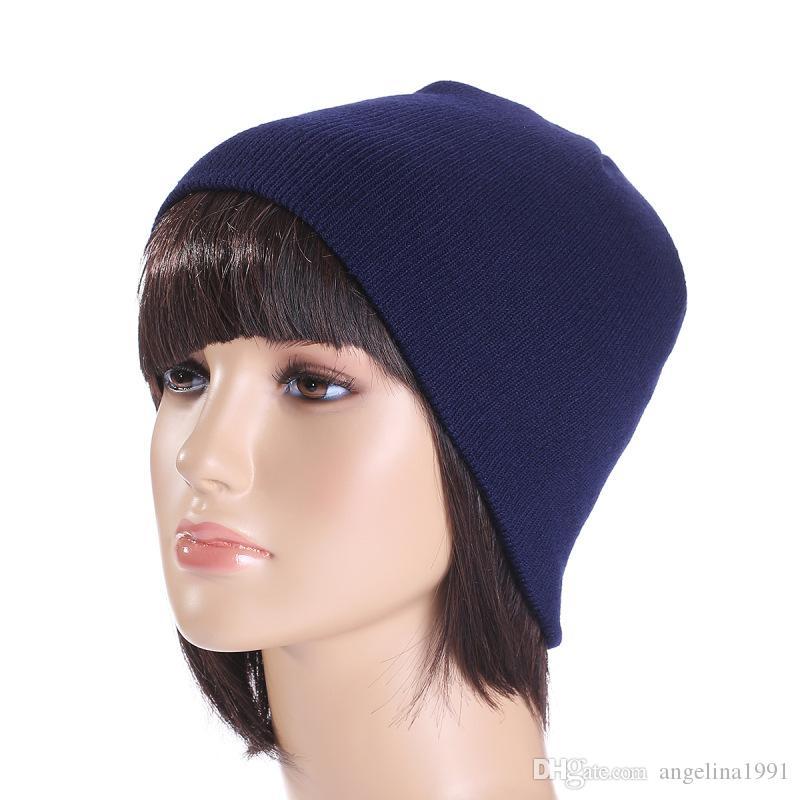 Unisexe Femmes Hommes Chapeau D'hiver Snap Back Muts Tricot Bonnet Hip Hop Bonnet Chaud Bonnet Femme Couleur Unie