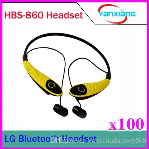100 PCS HBS-860 Wireless Bluetooth Stereo Headset Earphone Sport Musique Neckband HBS 860 pour téléphones mobiles iPhone LG Samsung ZY-EJ-02