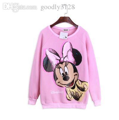 3e3f2b891172 Wholesale-New Pink Mickey Minnie Mouse Sweatshirts,Women Cartoon ...