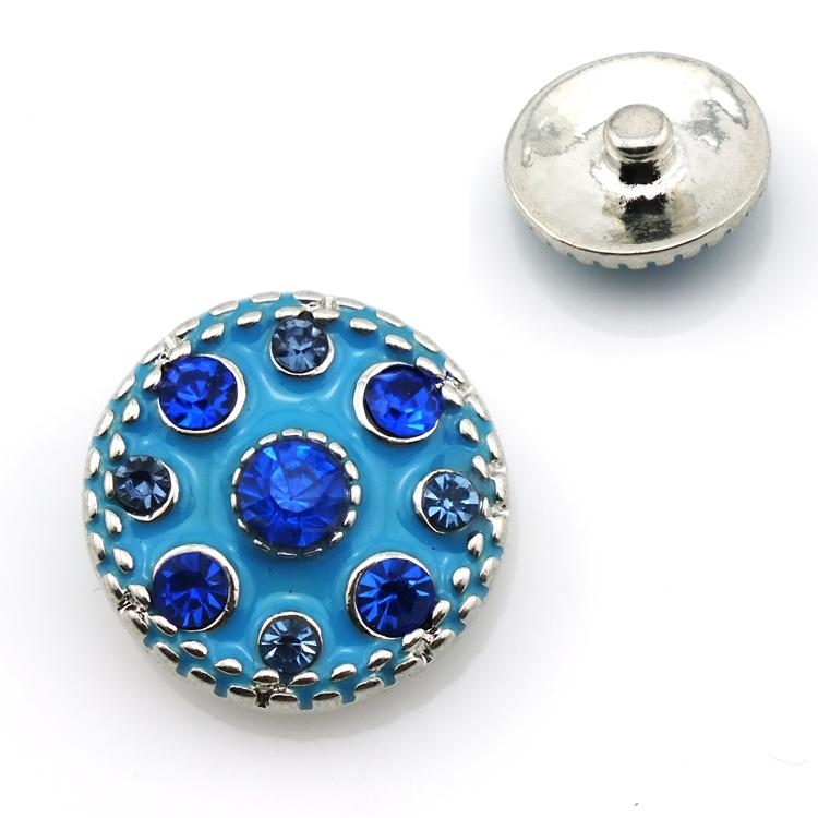 Moda 18mm Yapış Düğmeler Mavi Rhinestone Metal Klipsler Fit DIY Noosa Bilezik Takı Bulguları Ücretsiz Kargo
