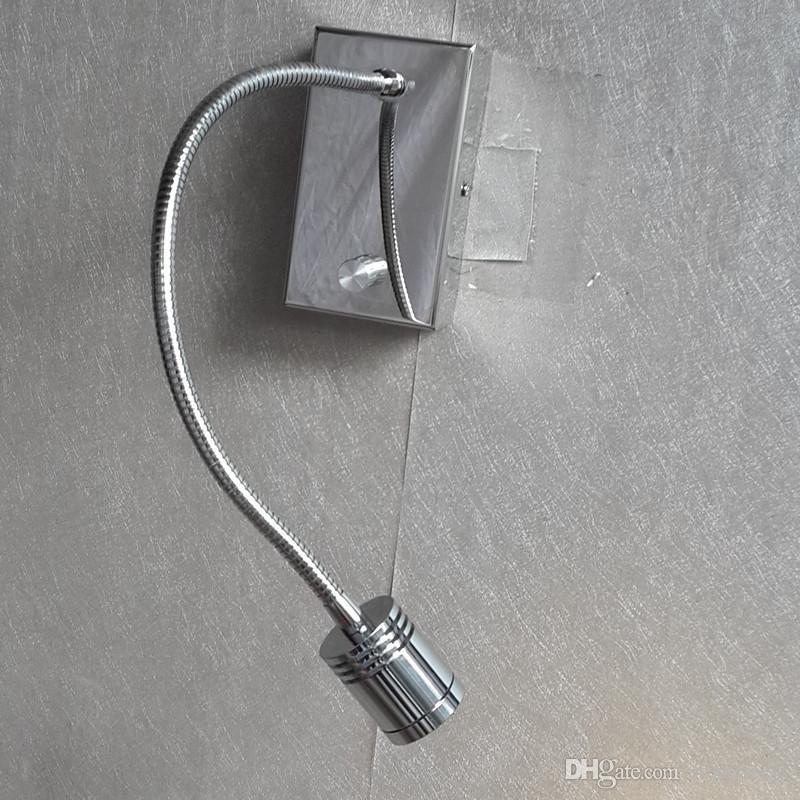 Topoch Iluminado Cabeças Lâmpadas Lâmpadas Botas On / Off / Dimmer Interruptor Alumimum Mangueira Flexível Cree LED 3W 200lm Elegante Chrome Account