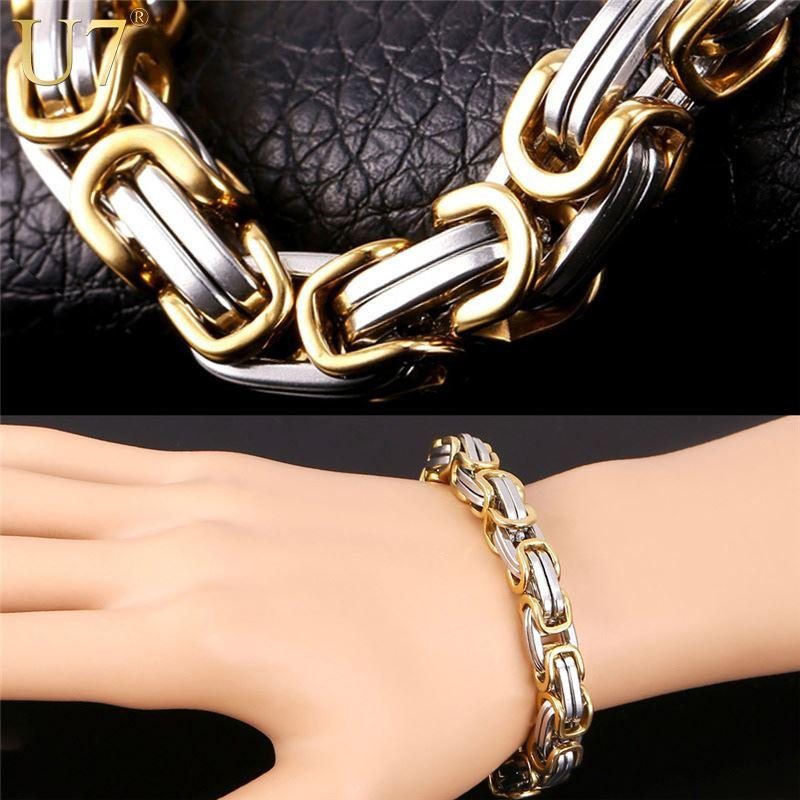 jewelry stainless punk big head gold tiger hip color steel bracelet men